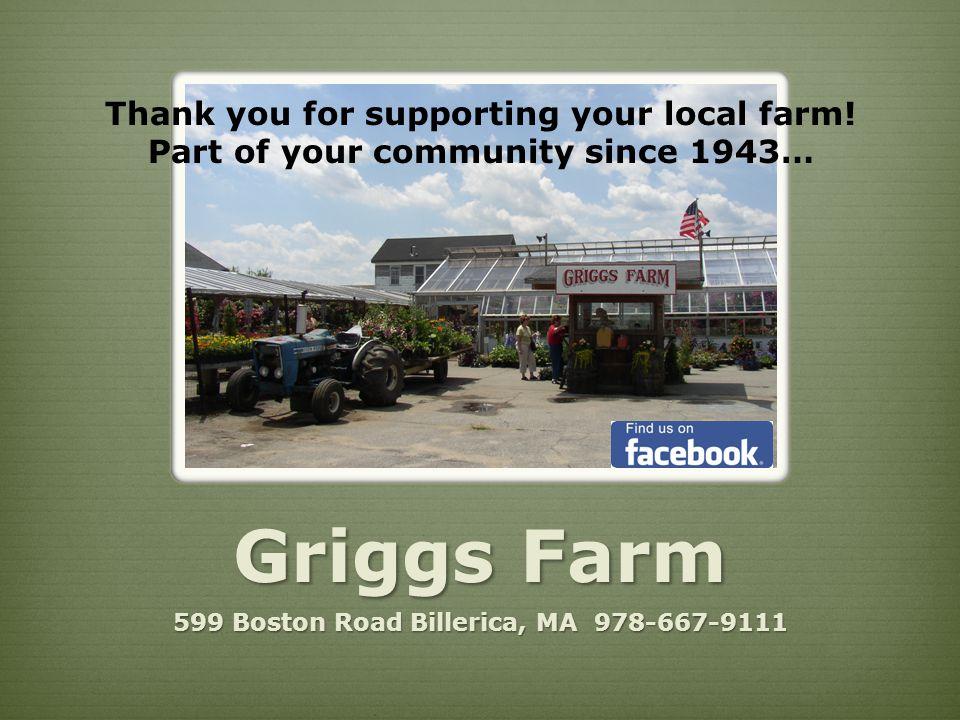 Griggs Farm 599 Boston Road Billerica, MA 978-667-9111 500 Boston Road Bill Thank you for supporting your local farm.