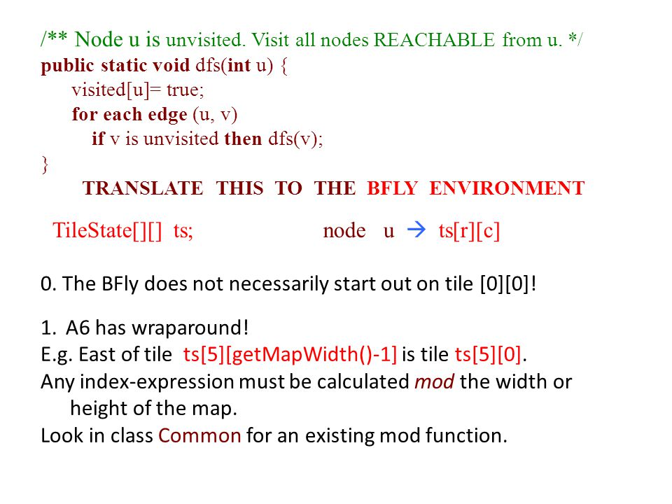 /** Node u is unvisited. Visit all nodes REACHABLE from u.