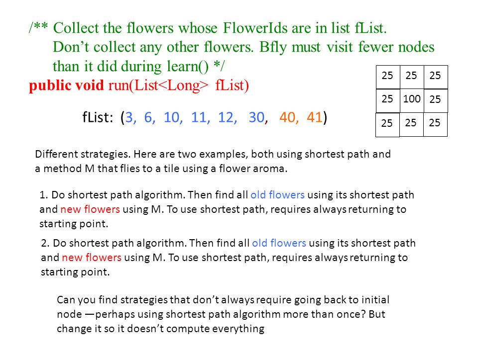 /** Collect the flowers whose FlowerIds are in list fList.