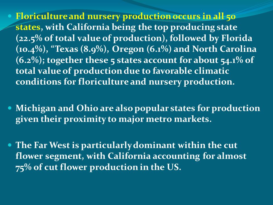 Floriculture and nursery production occurs in all 50 states, with California being the top producing state (22.5% of total value of production), follo