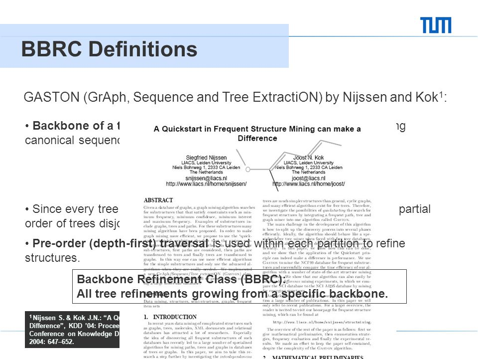 Large-Scale Graph Mining using Backbone Refinement Classes 04 BBRC Definitions 4 GASTON (GrAph, Sequence and Tree ExtractiON) by Nijssen and Kok 1 : 1