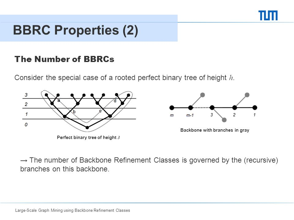 Large-Scale Graph Mining using Backbone Refinement Classes 04 BBRC Properties (2) 7 Consider the special case of a rooted perfect binary tree of heigh