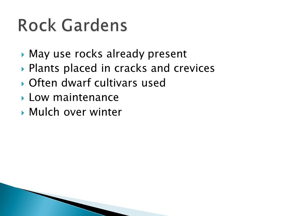 May use rocks already present Plants placed in cracks and crevices Often dwarf cultivars used Low maintenance Mulch over winter
