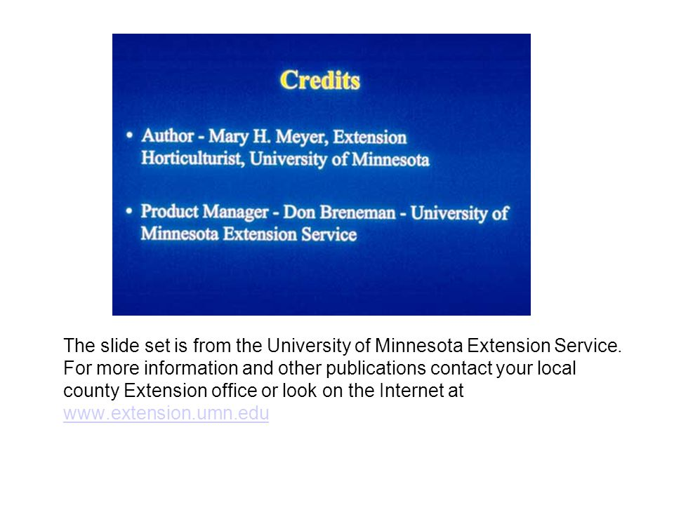The slide set is from the University of Minnesota Extension Service.