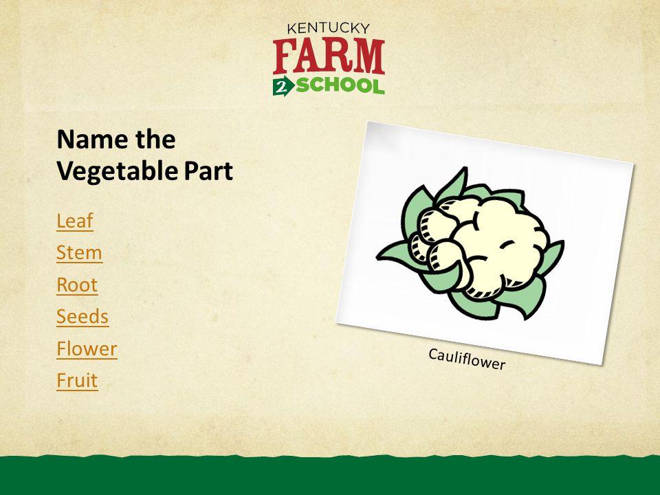 Name the Vegetable Part Leaf Stem Root Seeds Flower Fruit Cauliflower