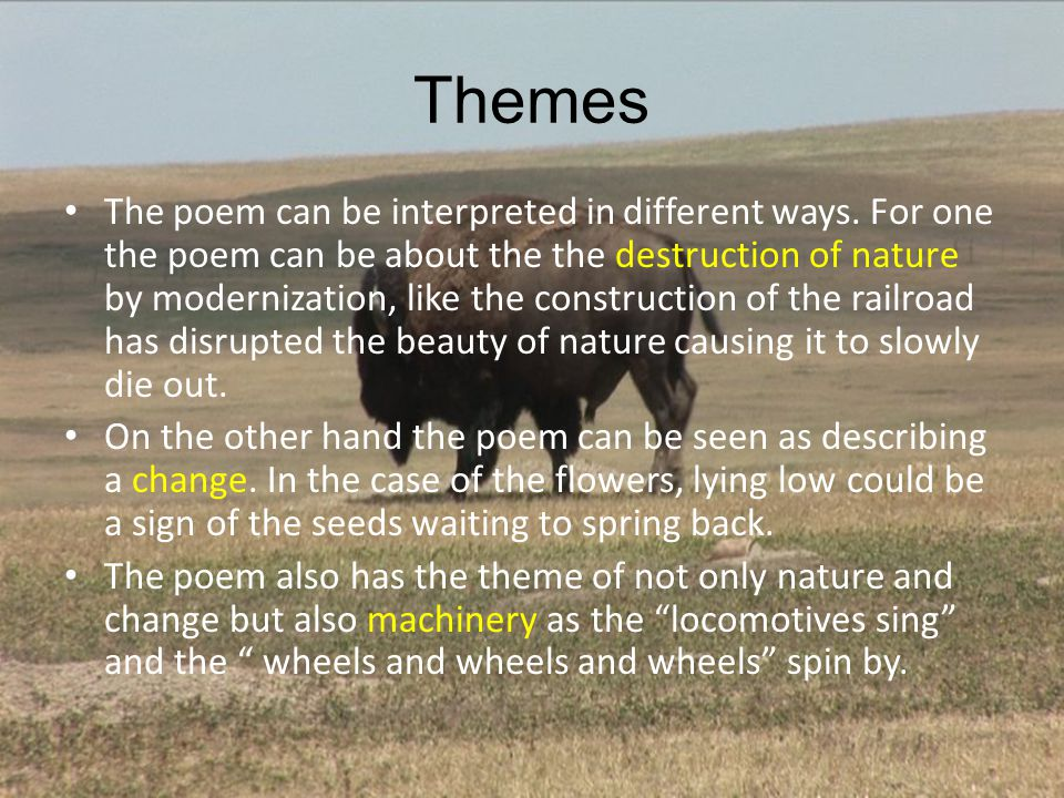 Themes The poem can be interpreted in different ways. For one the poem can be about the the destruction of nature by modernization, like the construct