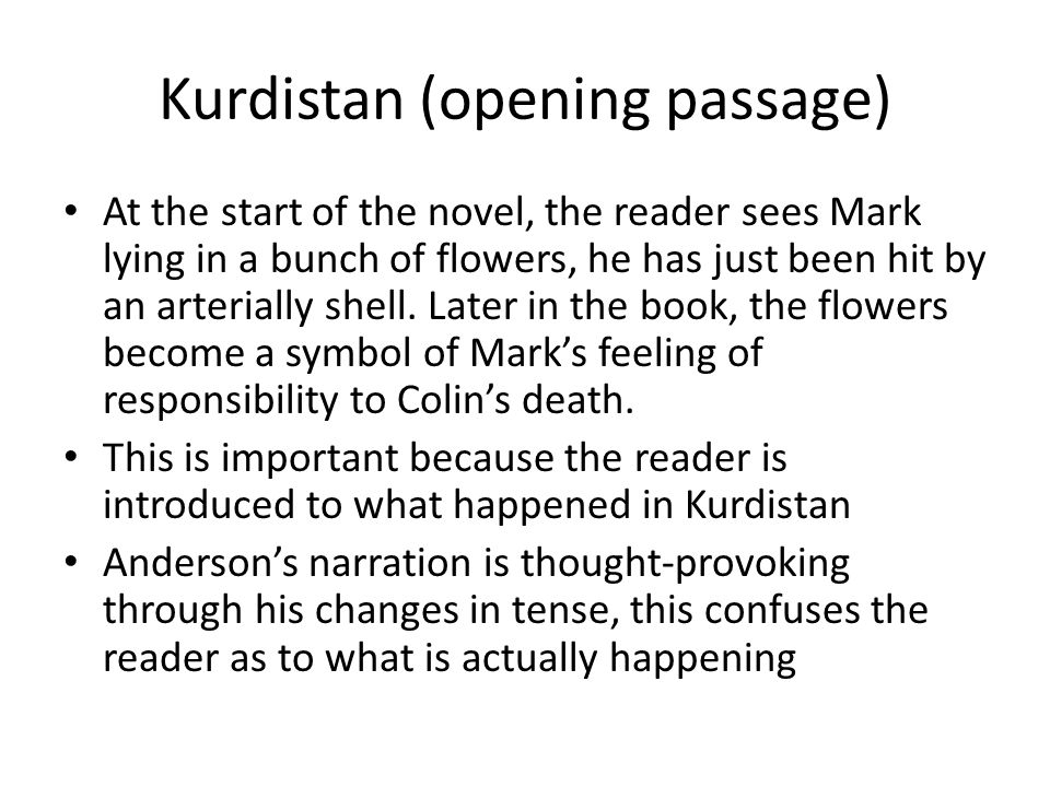 Kurdistan (opening passage) At the start of the novel, the reader sees Mark lying in a bunch of flowers, he has just been hit by an arterially shell.