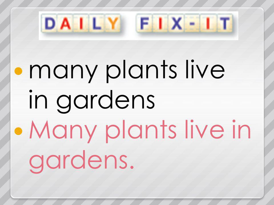 many plants live in gardens Many plants live in gardens.