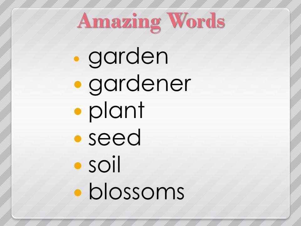 Amazing Words garden gardener plant seed soil blossoms