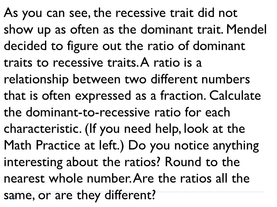 As you can see, the recessive trait did not show up as often as the dominant trait. Mendel decided to figure out the ratio of dominant traits to reces