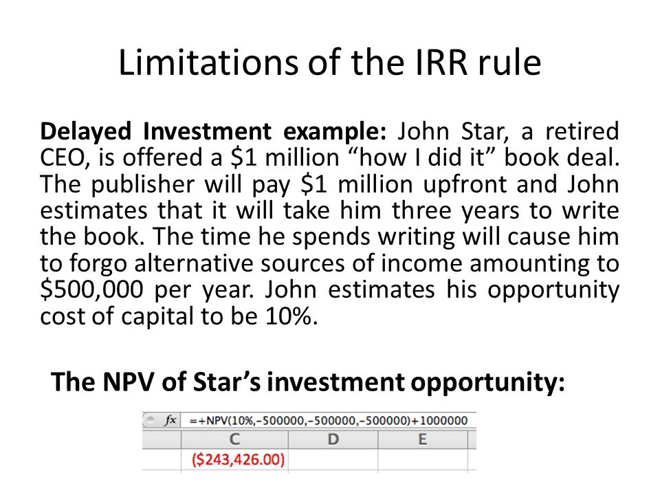 Limitations of the IRR rule Delayed Investment example: John Star, a retired CEO, is offered a $1 million how I did it book deal. The publisher will p