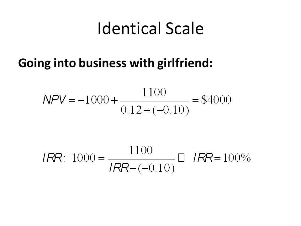 Identical Scale Going into business with girlfriend: