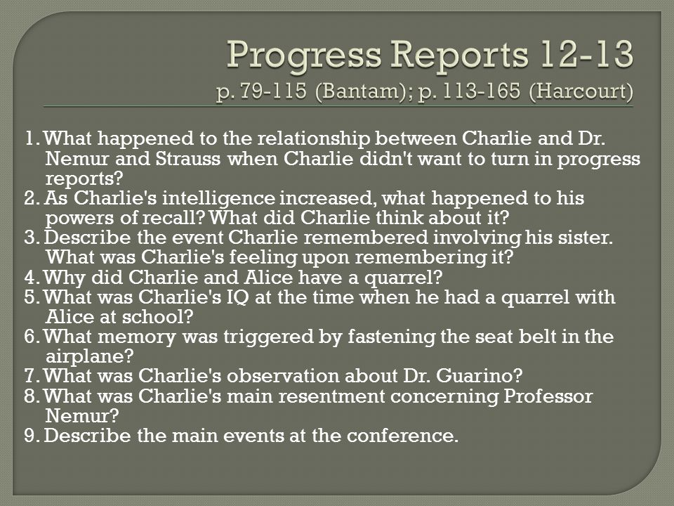 1. What happened to the relationship between Charlie and Dr. Nemur and Strauss when Charlie didn't want to turn in progress reports? 2. As Charlie's i