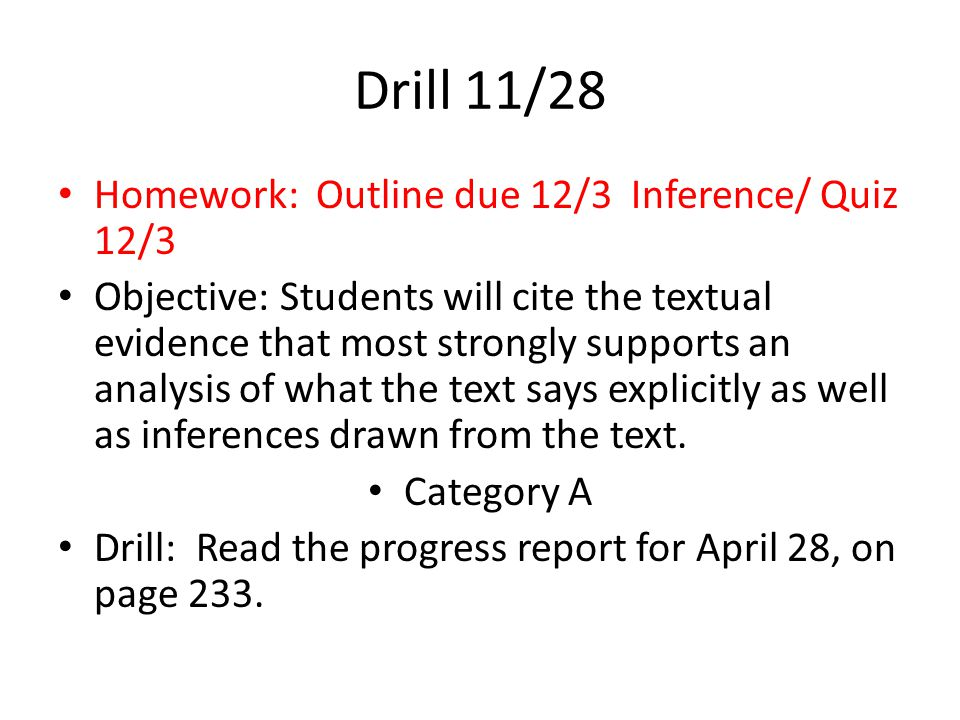 Drill 11/27 Take out your note cards. Make sure your name is on the back of all three cards.