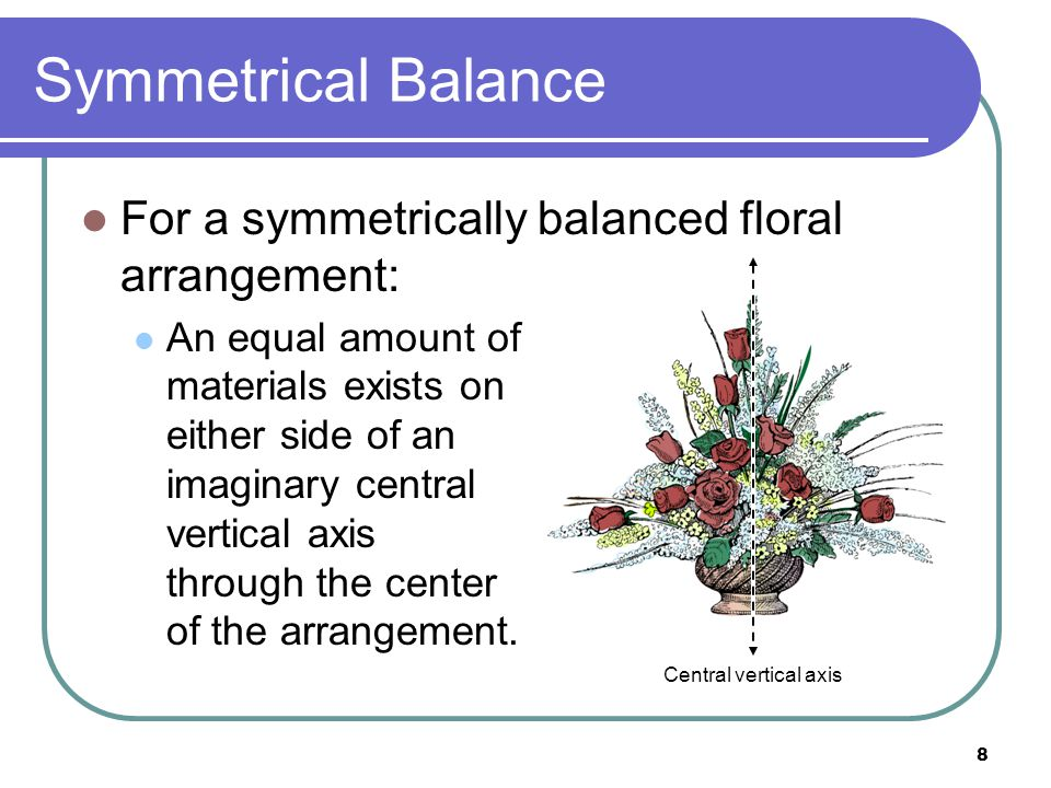 9 Symmetrical Balance One side of the arrangement is a near mirror image of the other side.