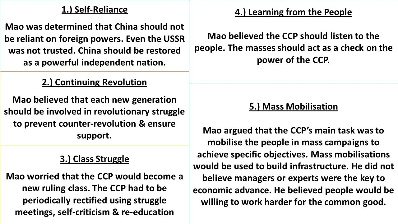 1.) Self-Reliance Mao was determined that China should not be reliant on foreign powers. Even the USSR was not trusted. China should be restored as a