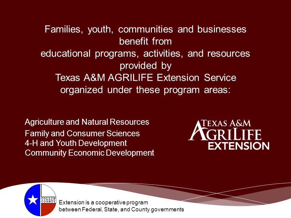 Families, youth, communities and businesses benefit from educational programs, activities, and resources provided by Texas A&M AGRILIFE Extension Service organized under these program areas: Agriculture and Natural Resources Family and Consumer Sciences 4-H and Youth Development Community Economic Development Extension is a cooperative program between Federal, State, and County governments