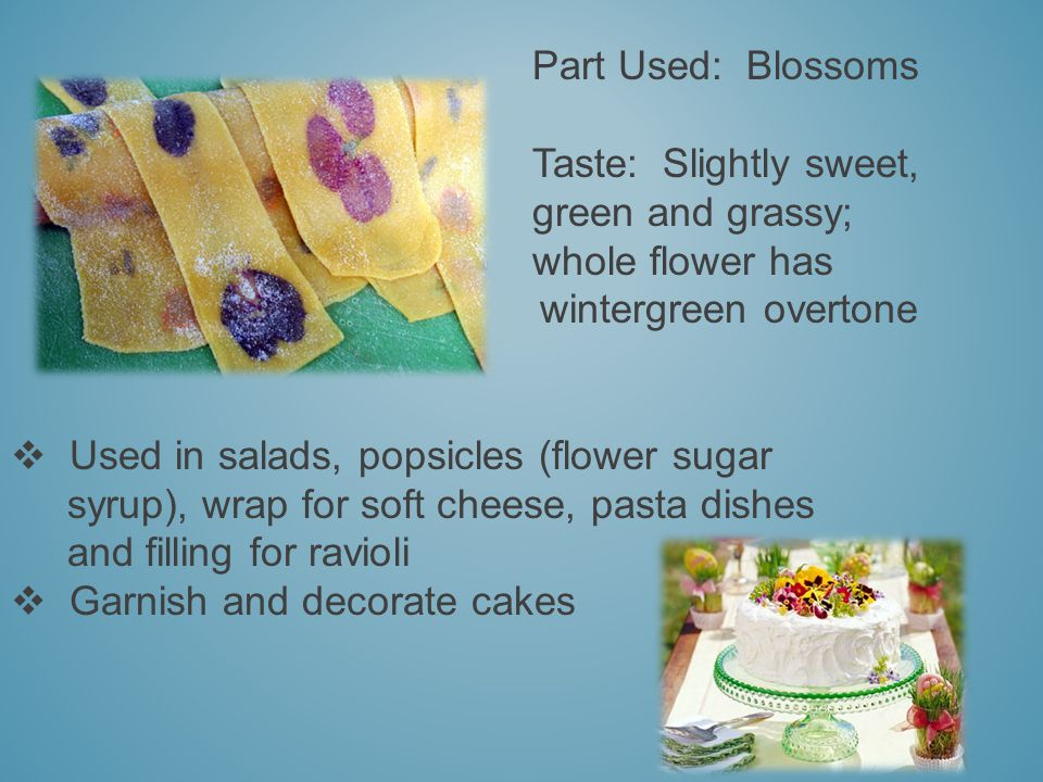 Part Used: Blossoms Taste: Slightly sweet, green and grassy; whole flower has wintergreen overtone Used in salads, popsicles (flower sugar syrup), wrap for soft cheese, pasta dishes and filling for ravioli Garnish and decorate cakes