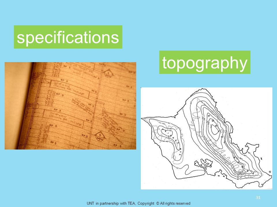 specifications topography 31 UNT in partnership with TEA, Copyright © All rights reserved