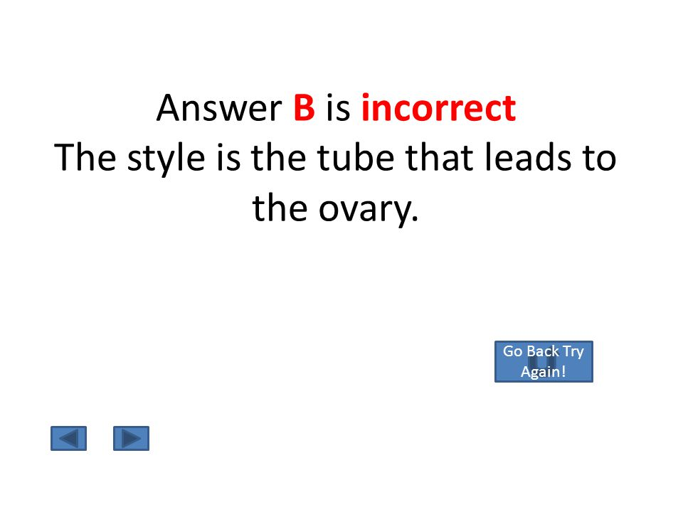 Answer A is Correct ! The Ovule lies within the ovary and will become the seeds within the fruit!! return