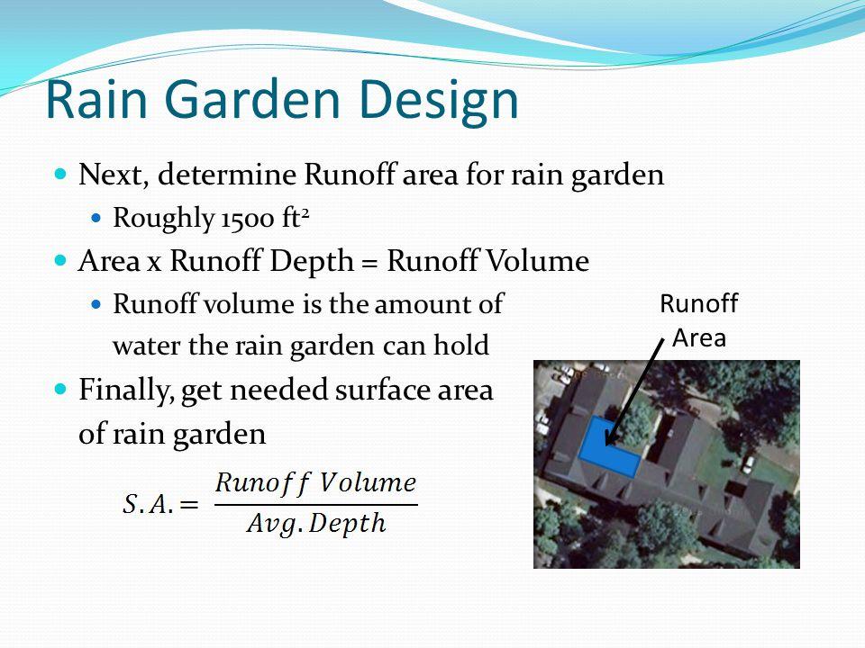 Rain Garden Design Next, determine Runoff area for rain garden Roughly 1500 ft 2 Area x Runoff Depth = Runoff Volume Runoff volume is the amount of wa