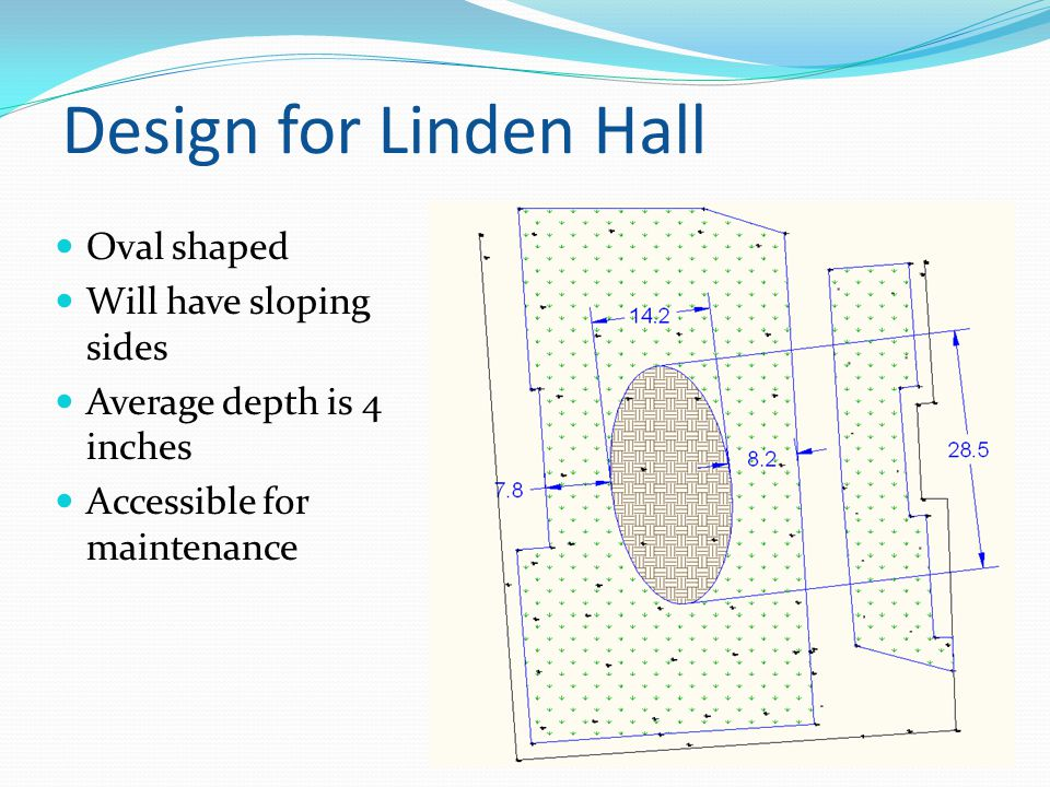 Design for Linden Hall Oval shaped Will have sloping sides Average depth is 4 inches Accessible for maintenance