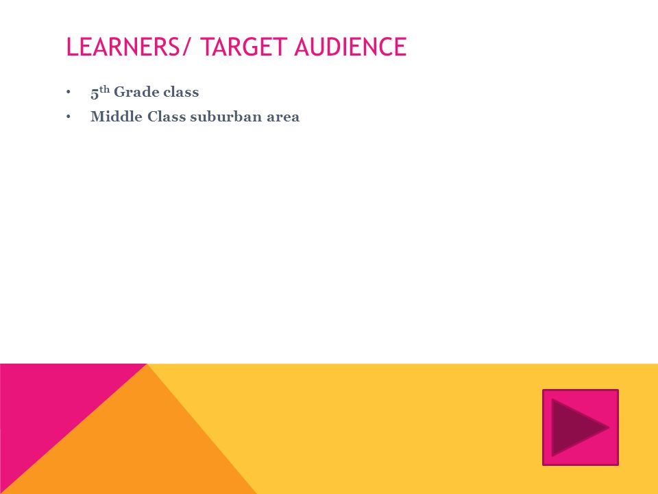 LEARNERS/ TARGET AUDIENCE 5 th Grade class Middle Class suburban area