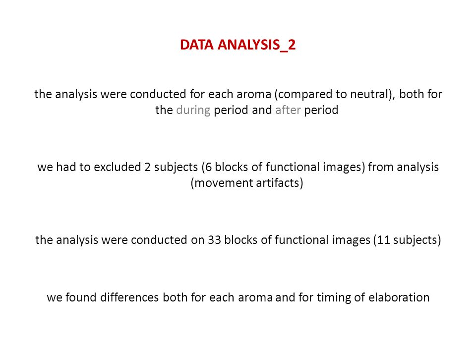 DATA ANALYSIS_2 the analysis were conducted for each aroma (compared to neutral), both for the during period and after period we had to excluded 2 subjects (6 blocks of functional images) from analysis (movement artifacts) the analysis were conducted on 33 blocks of functional images (11 subjects) we found differences both for each aroma and for timing of elaboration