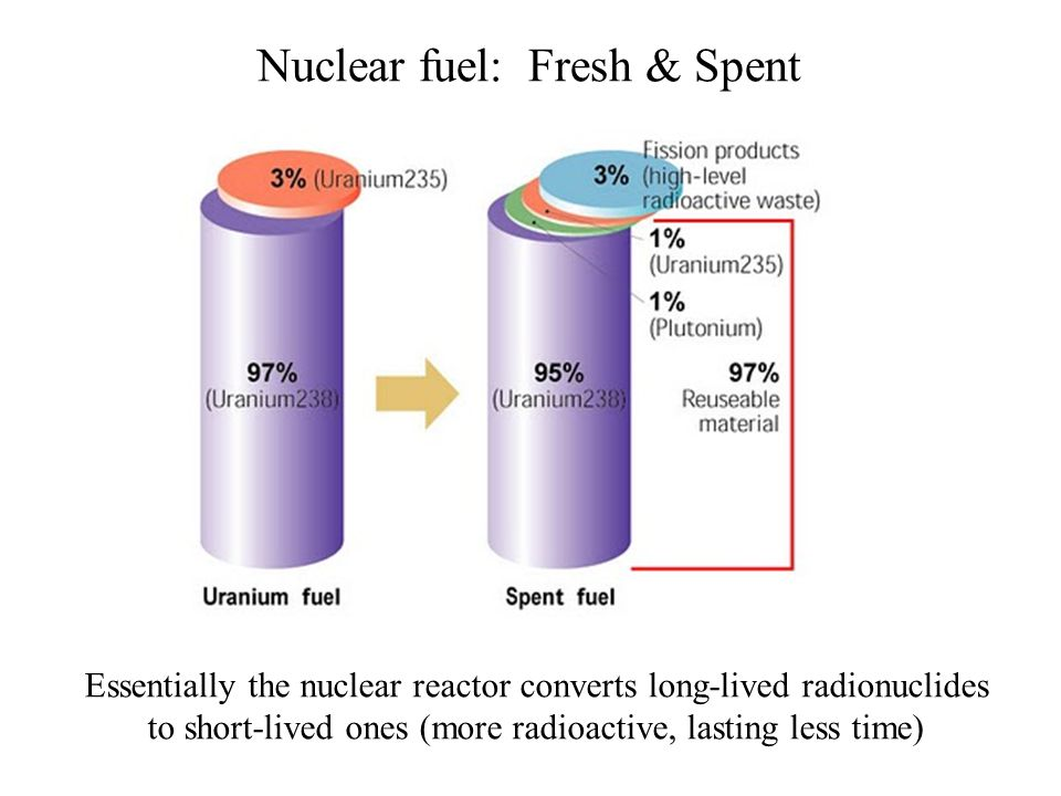 Nuclear fuel: Fresh & Spent Essentially the nuclear reactor converts long-lived radionuclides to short-lived ones (more radioactive, lasting less time)