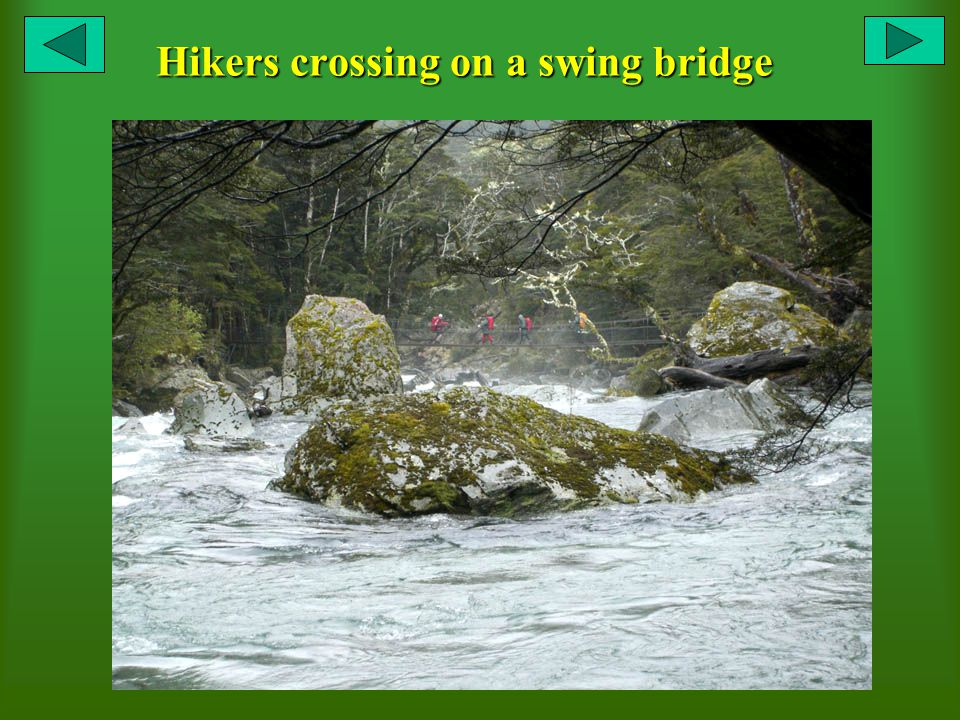 Hikers crossing on a swing bridge