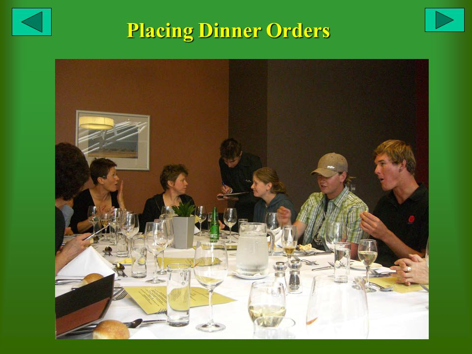 Placing Dinner Orders