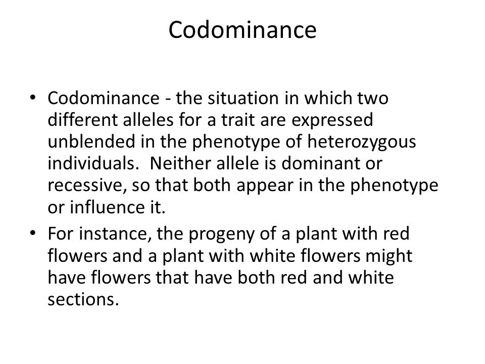 Codominance Codominance - the situation in which two different alleles for a trait are expressed unblended in the phenotype of heterozygous individuals.