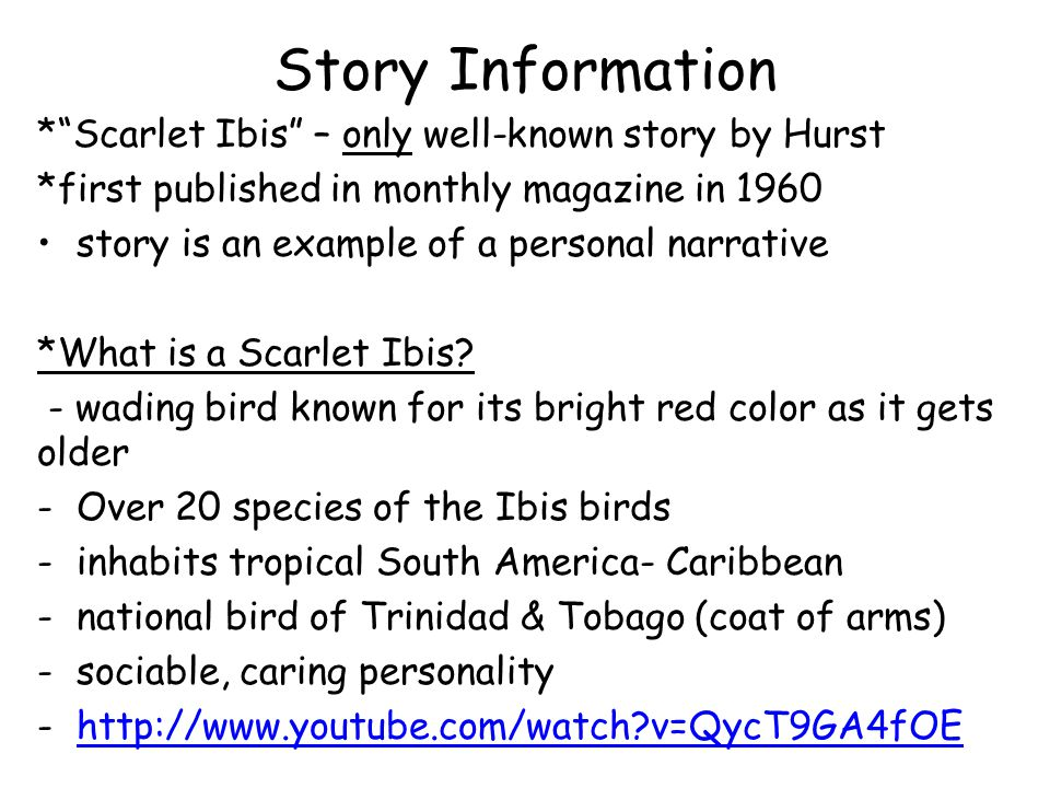 Story Information *Scarlet Ibis – only well-known story by Hurst *first published in monthly magazine in 1960 story is an example of a personal narrat