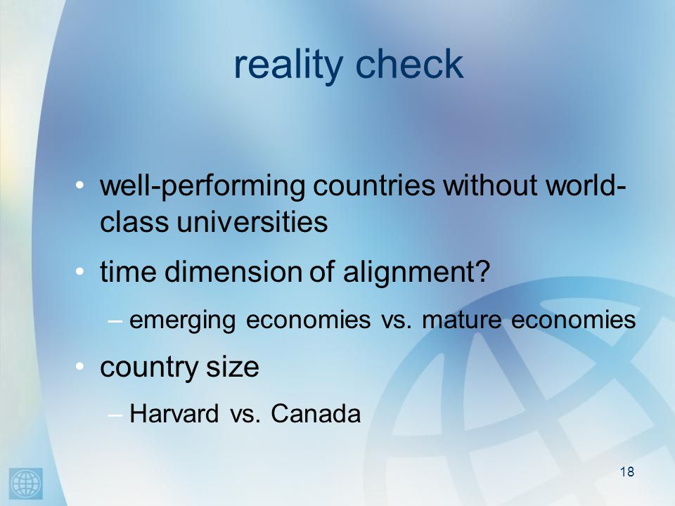 18 reality check well-performing countries without world- class universities time dimension of alignment.