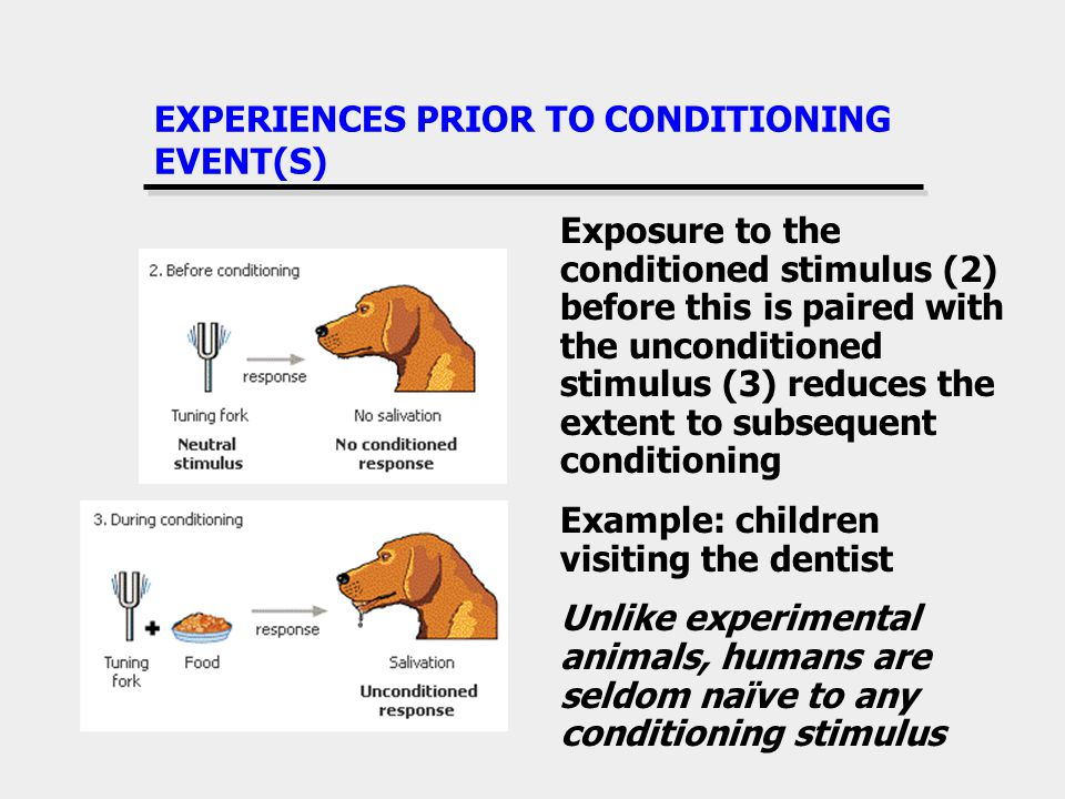 EXPERIENCES PRIOR TO CONDITIONING EVENT(S) Exposure to the conditioned stimulus (2) before this is paired with the unconditioned stimulus (3) reduces the extent to subsequent conditioning Example: children visiting the dentist Unlike experimental animals, humans are seldom naïve to any conditioning stimulus