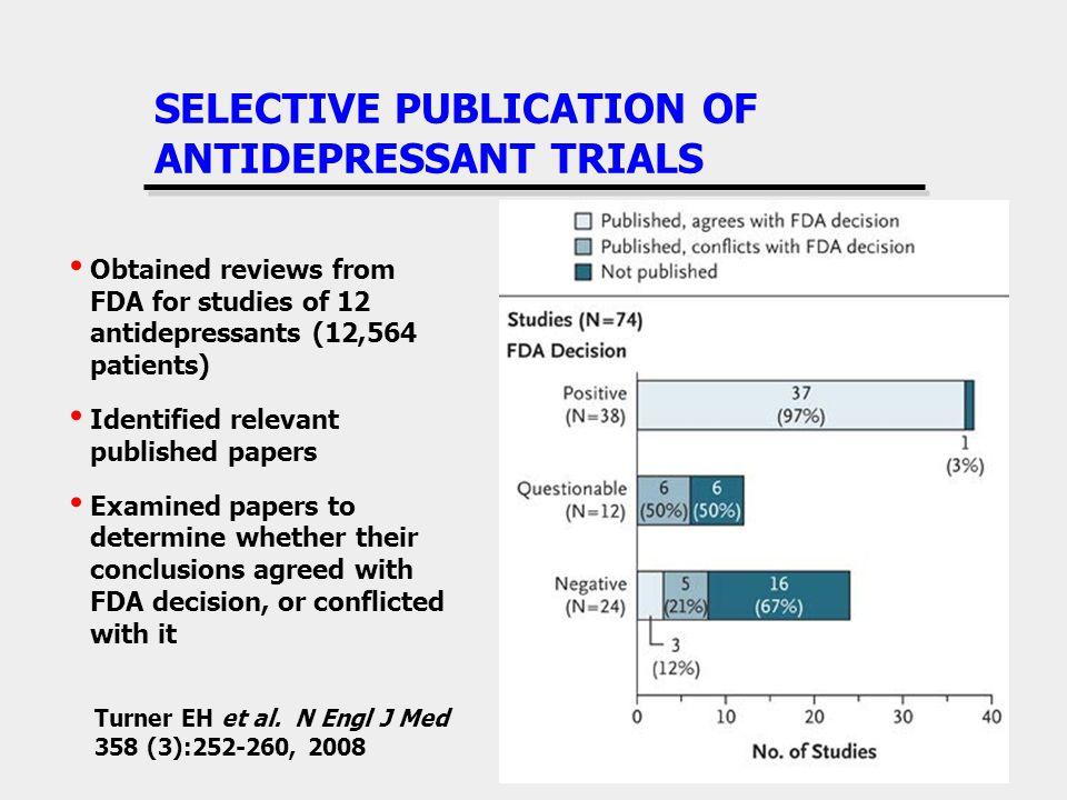 SELECTIVE PUBLICATION OF ANTIDEPRESSANT TRIALS Turner EH et al.