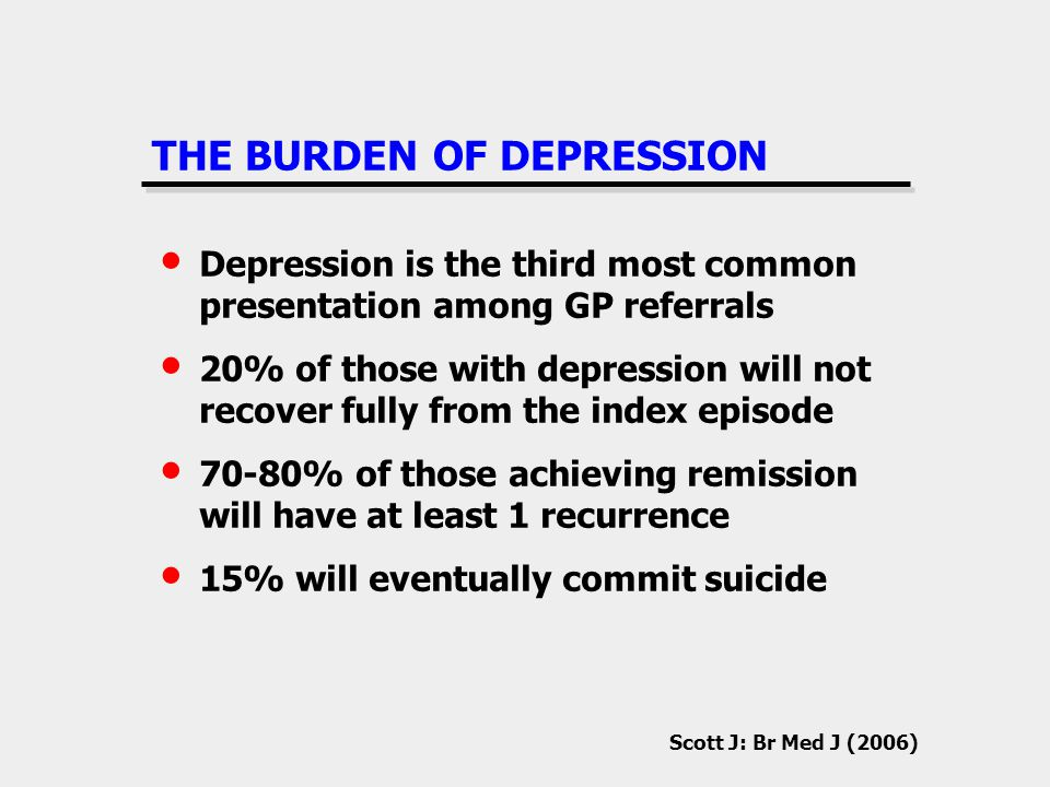 THE BURDEN OF DEPRESSION Depression is the third most common presentation among GP referrals 20% of those with depression will not recover fully from the index episode 70-80% of those achieving remission will have at least 1 recurrence 15% will eventually commit suicide Scott J: Br Med J (2006)