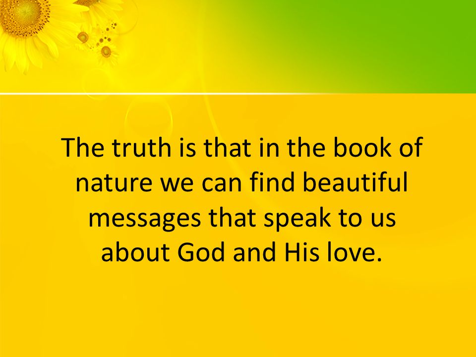 The truth is that in the book of nature we can find beautiful messages that speak to us about God and His love.