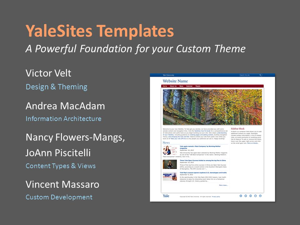 YaleSites Templates A Powerful Foundation for your Custom Theme Victor Velt Design & Theming Andrea MacAdam Information Architecture Nancy Flowers-Mangs, JoAnn Piscitelli Content Types & Views Vincent Massaro Custom Development