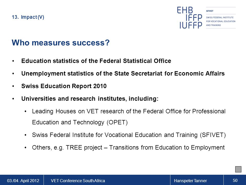 03./04. April 2012VET Conference South AfricaHanspeter Tanner 50 Who measures success? Education statistics of the Federal Statistical Office Unemploy