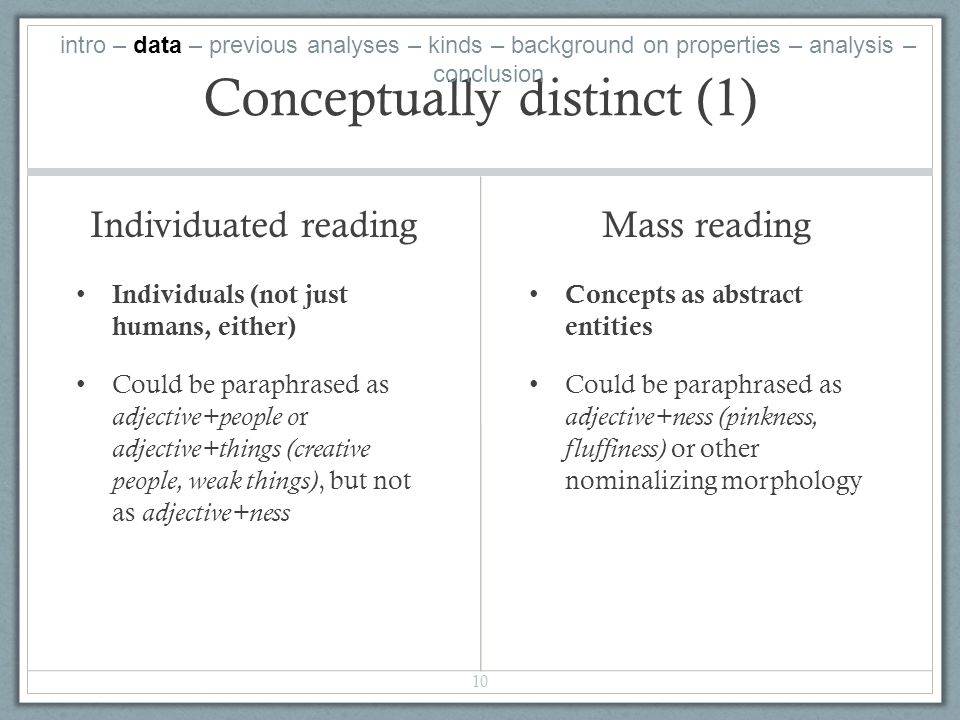 Conceptually distinct (1) Individuated reading Individuals (not just humans, either) Could be paraphrased as adjective+people or adjective+things (creative people, weak things), but not as adjective+ness Mass reading Concepts as abstract entities Could be paraphrased as adjective+ness (pinkness, fluffiness) or other nominalizing morphology 10 intro – data – previous analyses – kinds – background on properties – analysis – conclusion
