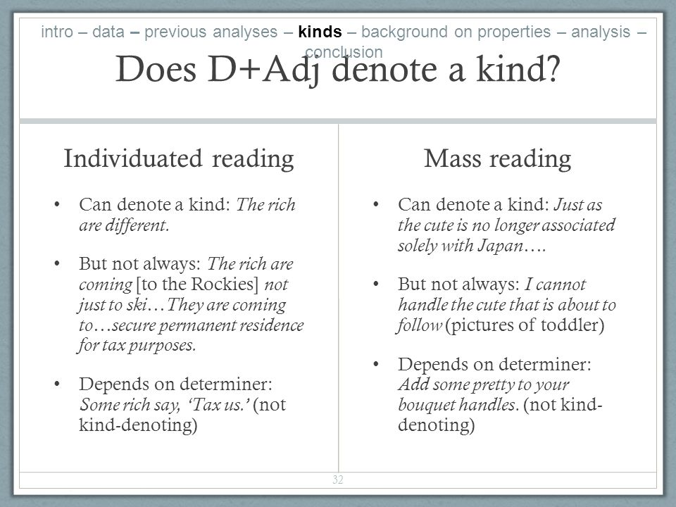 Does D+Adj denote a kind. Individuated reading Can denote a kind: The rich are different.