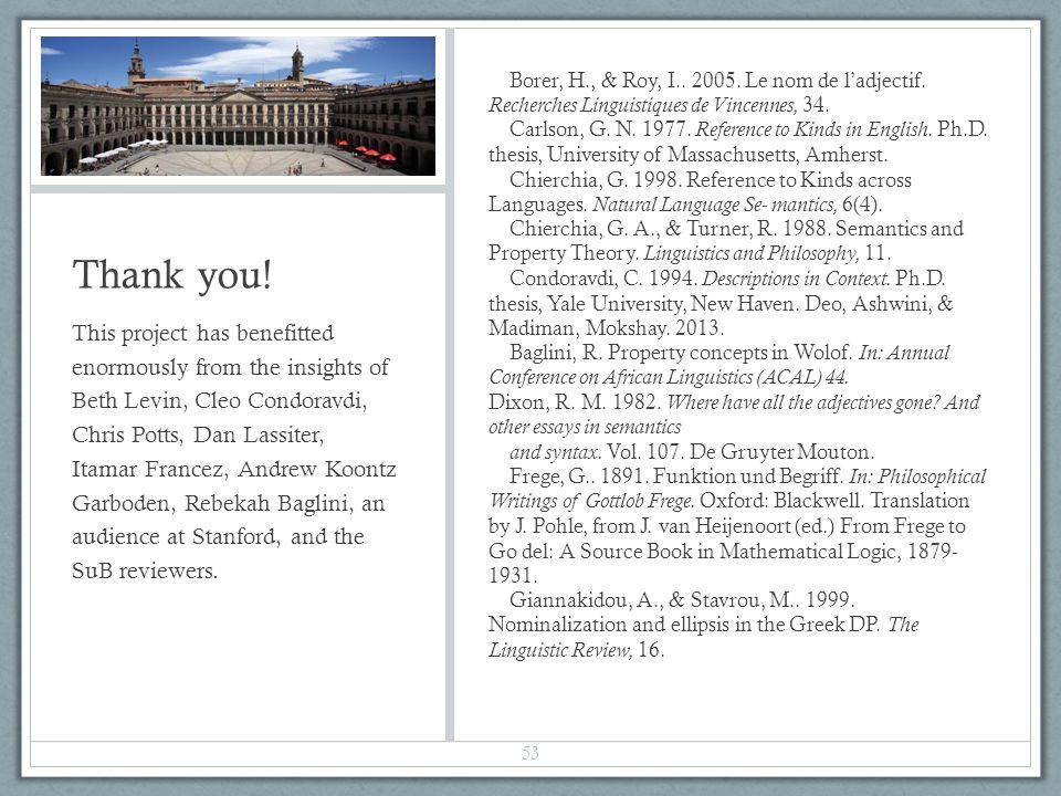 Thank you. Borer, H., & Roy, I.. 2005. Le nom de ladjectif.