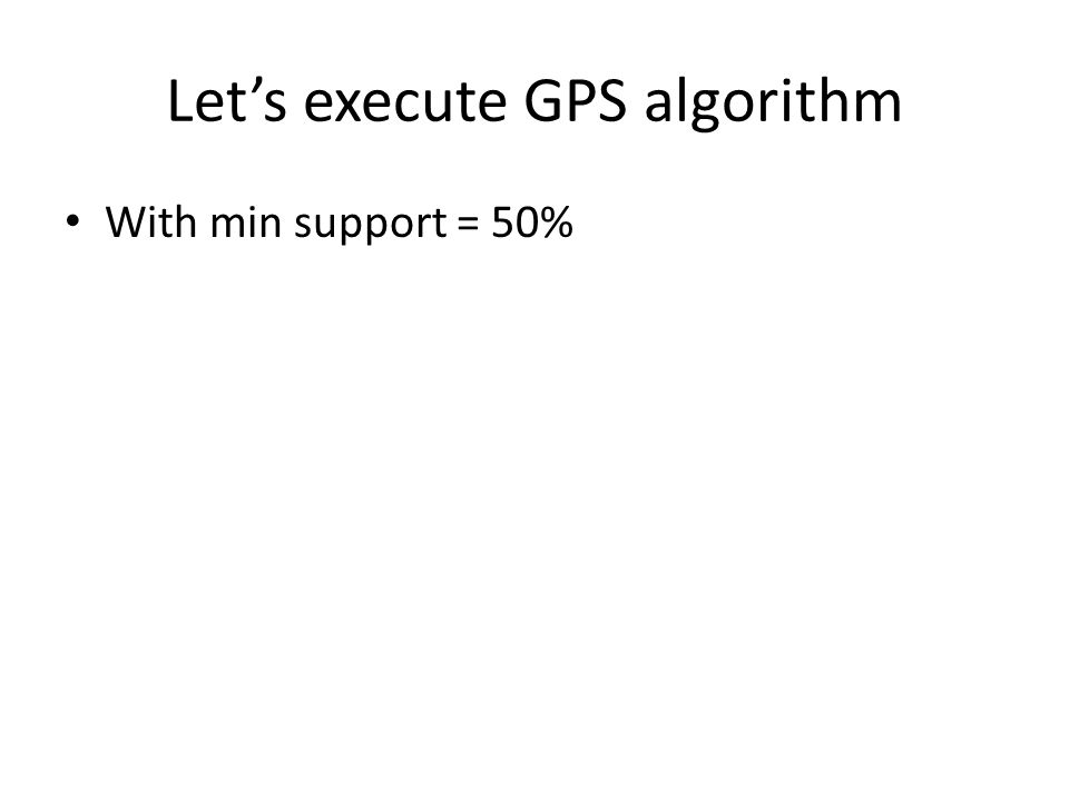 Lets execute GPS algorithm With min support = 50%