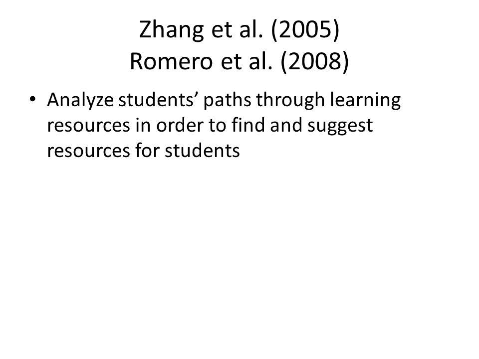 Zhang et al. (2005) Romero et al.