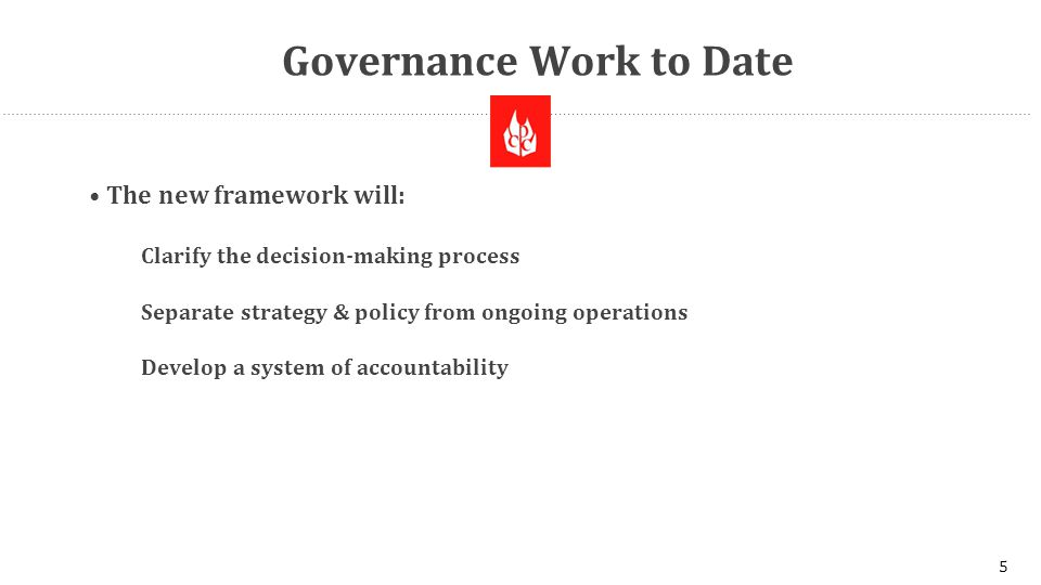 Governance Work to Date The new framework will: Clarify the decision-making process Separate strategy & policy from ongoing operations Develop a system of accountability 5