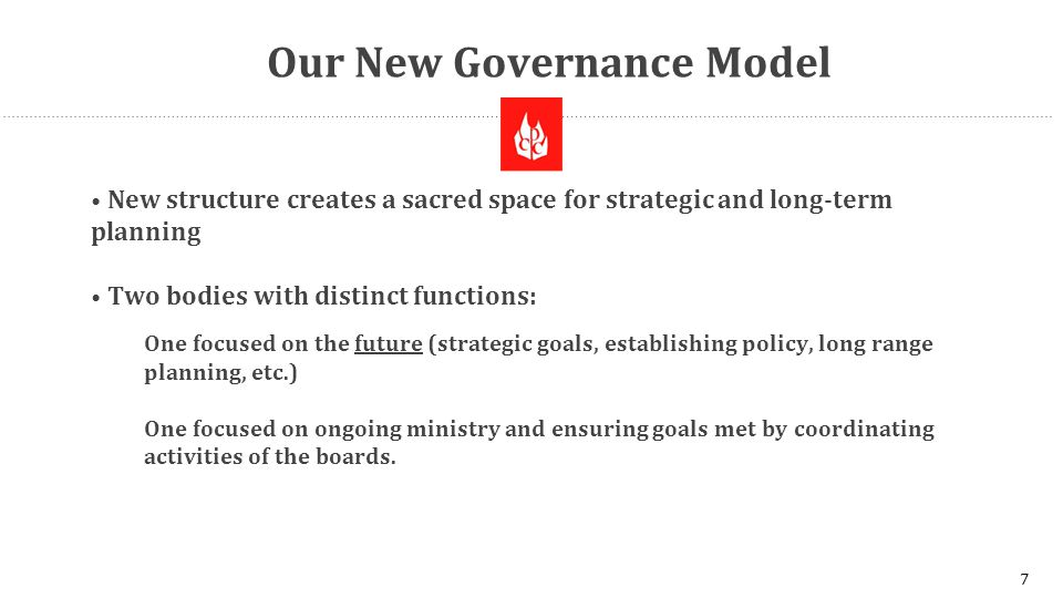 Our New Governance Model New structure creates a sacred space for strategic and long-term planning Two bodies with distinct functions: One focused on the future (strategic goals, establishing policy, long range planning, etc.) One focused on ongoing ministry and ensuring goals met by coordinating activities of the boards.