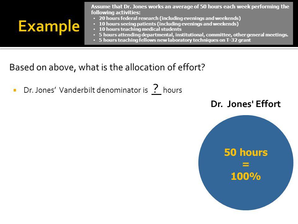 Based on above, what is the allocation of effort? Dr. Jones Vanderbilt denominator is ? hours 50 hours = 100% Assume that Dr. Jones works an average o