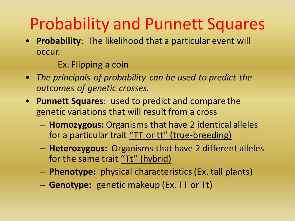 Probability and Punnett Squares Probability: The likelihood that a particular event will occur. -Ex. Flipping a coin The principals of probability can