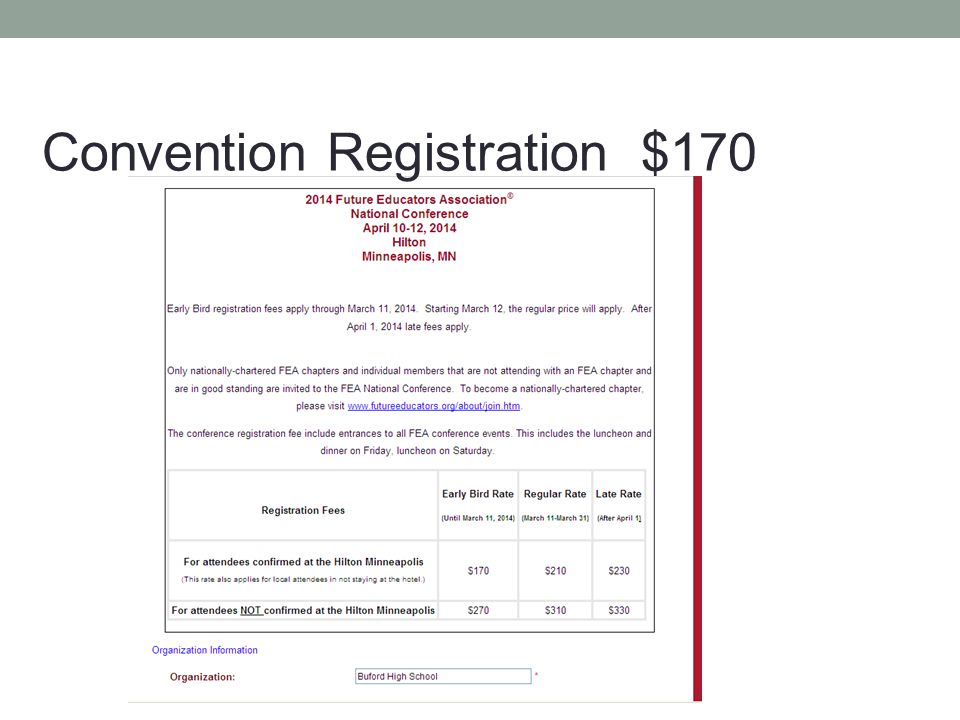 Convention Registration $170